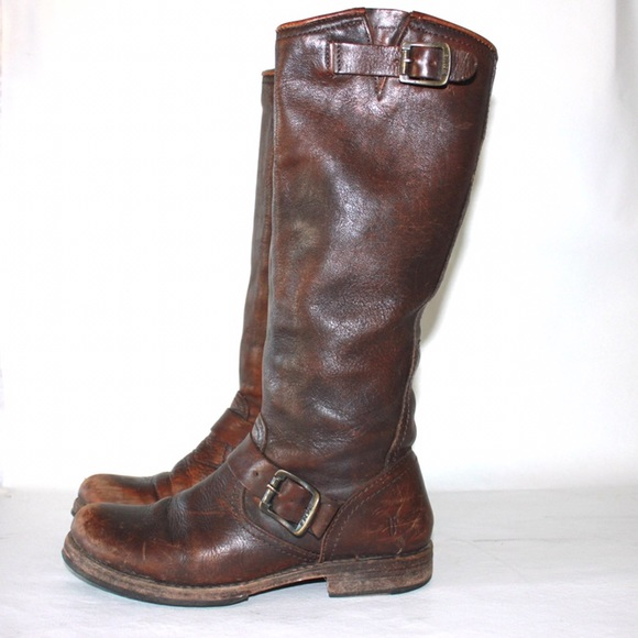Frye Shoes - Frye Tall Engineer Double Buckle Round Toe Boot